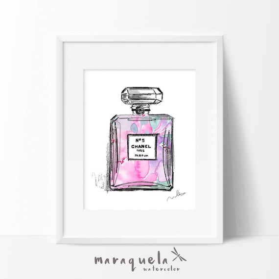 CHANEL nº 5 PARFUM modern Illustration Flowers WATERCOLOR pink and violet roses, elegant hues. Chanel Paris original handame. Fashion Decor