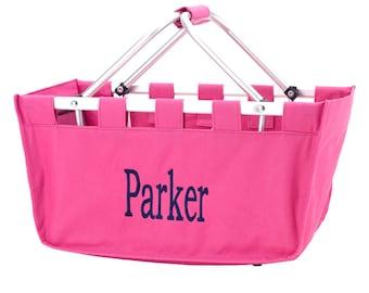 Hot Pink Monogrammed Market Tote - Market Tote Bag - Monogram Market Bag - Market Tote Bag