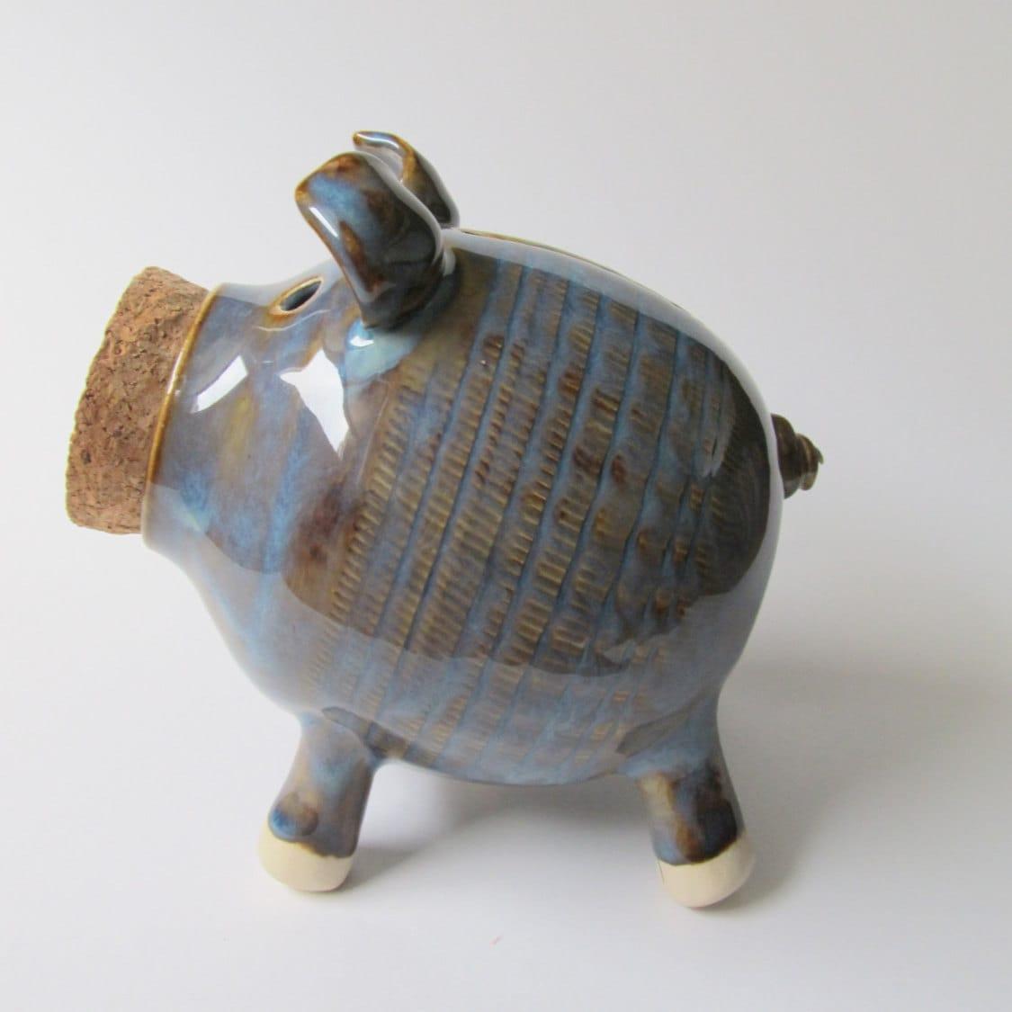 Seconds sale ceramic piggy bank handmade piggy bank blue for Handmade coin bank