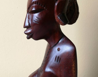 Fantastic African Tribal Carving. African Tribal Female Bust. Large Hand Carved African Tribal Female Wooden Bust. Scarified Female Bust