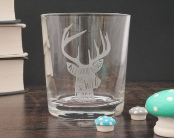 Stag Whisky Glass for Dad or Grandad Gift Scottish Whiskey Quote