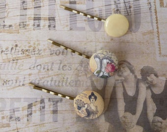 Vintage Fabric Hair Pins, Retro Style, Shabby Chic, Plastic Button, Flower Bobby Pin, Covered Button, For Bridesmaid, Wedding Accessories