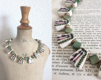 Vintage Handpainted 60's Necklace/ Ceramic and Wood Flat Beads