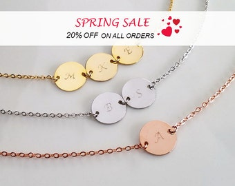 Personalized Necklace, Disc Necklace, Bridesmaid Gift, Coin Necklace, Rose Gold Necklace, Gift For Her, Personalized Gift, Initial Necklace