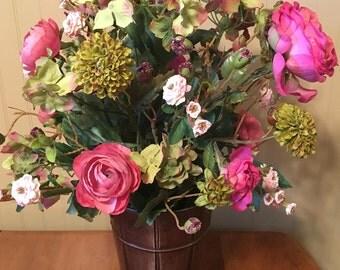 Pink Rose and Green-Pink Hydrangea silk floral arrangement