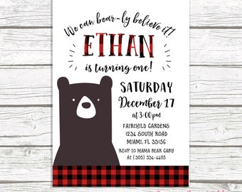 Bear Birthday Invitation, Lumberjack Birthday Invitation, First 1st Birthday Boy, Flannel Buffalo Plaid Invitation, Printable Invite