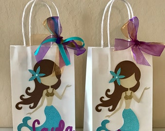 Set of 6 Personalized Under the Sea Mermaid Party Favor Bags, Teal Purple and Gold Mermaid Party Favor Bags