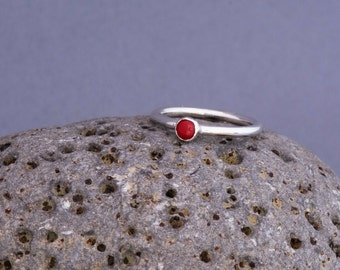 Sterling silver stacking ring, silver ring, red coral ring, stacking ring, stackable ring, red stone ring, gemstone ring, handmade ring,
