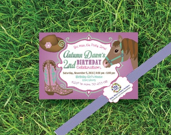 Western, Cowgirl, Horse, Boots, Pink, Purple, lavender, mint, palamino, rodeo, Themed, Birthday Invitation