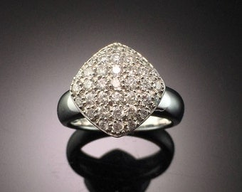 White Gold Diamond Pave Cluster Engagement Ring- 14K White Gold Cushion Cluster Engagement Ring- Cluster Diamond Anniversary Ring