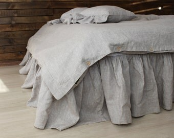 Linen dust ruffles, Shabby chic bedding, romantic country, ruffle skirt bed, natural linen dust ruffle, lined dust ruffle, bedskirt lined
