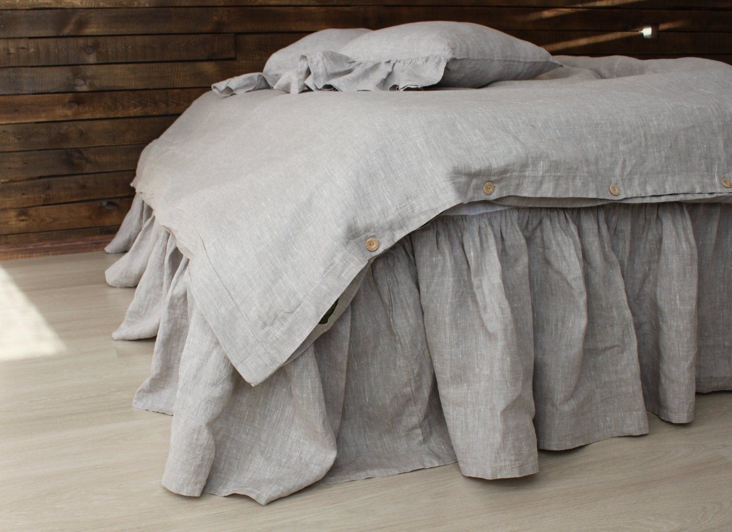 Linen Dust Ruffles Shabby Chic Bedding Romantic Country