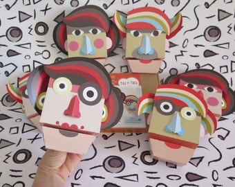 DIY kits/Papercraft/kits for kids/Paper toy/craft/paper crafts/Hand puppet/Paper pupet/Kids gift/Make your own puppet/Purim costume/fun