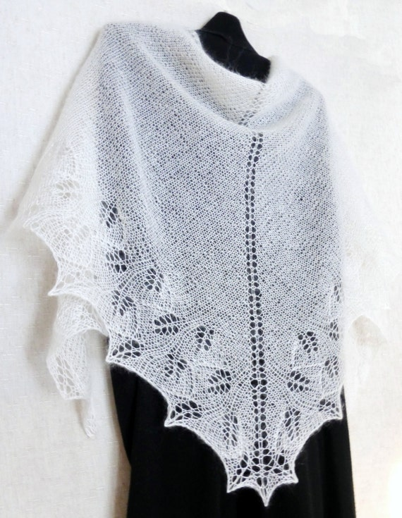 White wedding lace shawl Hand knitted scarf Wedding Openwork mohair shawl Winter wedding Bridal knit wrap Bridal knit shawl Made to order