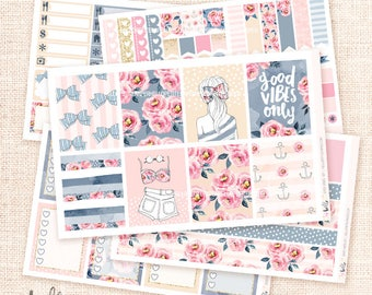 Good Vibes - Watercolor planner sticker kit / 6 sheets - for the Erin Condren or Happy Planner