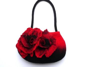 Flower Felted Bag, Felt Purse, Felt Bag, Felted Handbag, Bags,Red Bag, Black Purse,Flower Bag,Poppy Handbag, Art Wet Felted,  Poppy bag