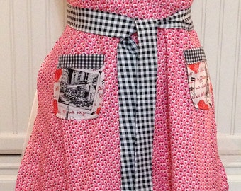 Womens full Apron,pink hearts, red hearts, black check, black gingham ruffle, Paris pockets