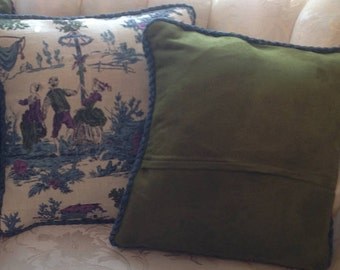 Toile Pillow Covers, set of 4 Toile Envelope pillow covers, 17 inch square, purple, deep green,  satin and rope trim