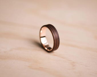 Solid Rose Gold and Santos Rosewood Bentwood Ring