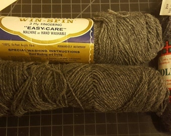 Lot of 3 skeins marled gray acrylic and wool yarn