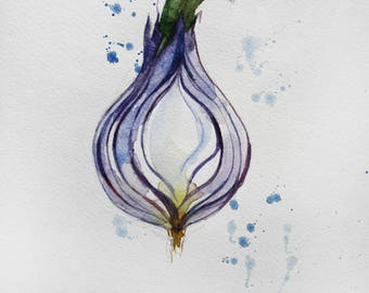 Sale Original Watercolor, Green Onions, Organic Vegetables, Kitchen decor, Botanical Home decor, Onion Art, Onions decorations wall OOAK