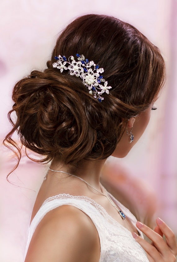 Blue bridal hair comb Something blue hair comb Sapphire blue Crystal hair comb Royal blue wedding Rhinestone hair comb Navy blue hair piece