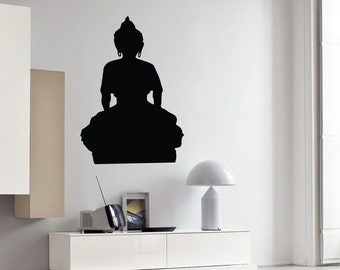Wall Vinyl Decal Buddha Seating Buddha Buddhism Yoga Studio Modern Living Room Decor (#2410dn)
