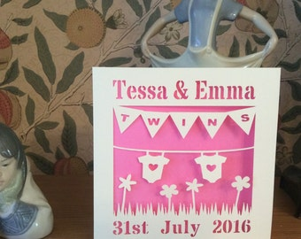 Papercut - Personalised Twins Card