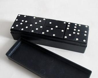Vintage Bakelite Dominoes,  Soviet Black Dominoes, Domino Set, Made in USSR