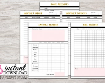 A5 Planner Printable - Finance Planner - Savings Tracker - Expense Tracker - Income - Filofax A5 - Kikki K Large - Design: Goldie