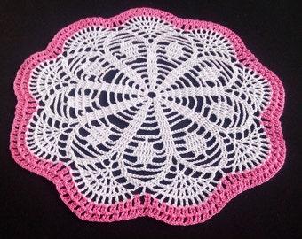 "Crochet doily 10"" - small doily - Home decor - white crochet doilies - pink crochet doily -Mother's Day - Handmade - Handmade tablecloth"