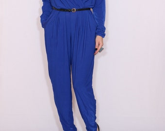 Cobalt blue jumpsuit Long sleeve jumpsuit Batwing jumpsuit