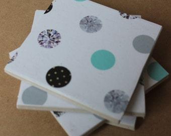 Coasters, set of 4, diamond pattern