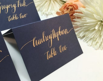Wedding Place Cards-Place Cards-Escort Cards-Place Cards Wedding-Wedding Calligraphy-Gold Place Cards-Navy Place Cards-Calligraphy