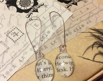Harry and Hedwig - Harry Potter inspired glass earrings for pierced ears, made from recycled book page