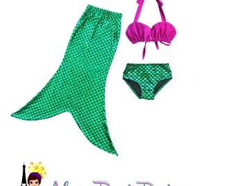 Mermaid Inspired Bathing Suit or Costume - Seashell bikini top Fin and Bikini Botttom - Disney Inspired Princess The Little Mermaid