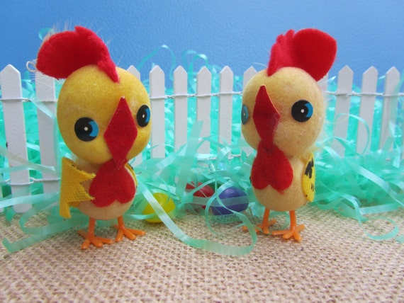 Easter Chick Rooster Decoration Kitschy Yellow Flocked Spun Cotton Chicken Pair Vintage Japan Novelty Animal Spring Art Fun Retro Gift