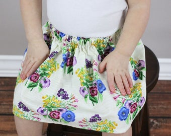 Ivory Floral Skirt, Flowers Spring Skirt, Baby Clothing, Girls Clothes, Girls Clothing