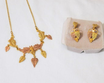 Vintage Black Hills Gold Necklace and  Earrings Tri Color Gold, Yellow Gold Jewelry, Rose Gold, Leaf Grape, Jewelry Set