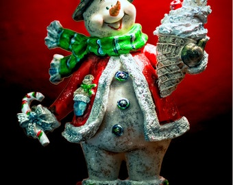 "Snowman and Ice Cream Cone Holiday Fridge Magnet 3.25""x2.25"" (PMH11026)"
