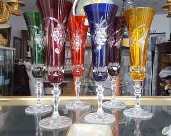 Suite of 6 Crystal champagne flutes cut color - 20771