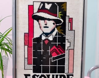"""Vintage """"Esquire"""" Needlepoint in Metal Frame - Miami-Chic!"""