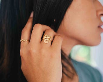 Panther ring - minimalist animal ring - thin gold ring - edgy gold ring - hypoallergenic ring - tiny delicate ring - animal ring - gold ring