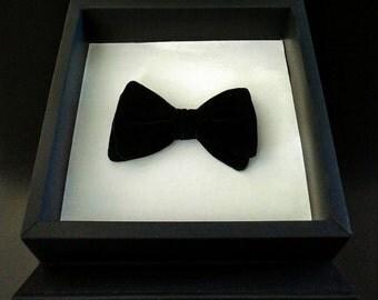 Handmade Black Velvet Bow tie