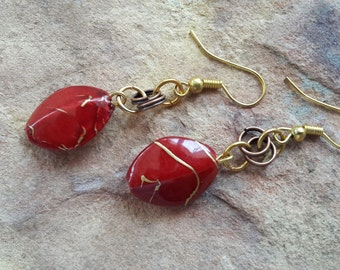 Beaded /handmade/small/simple/stylish/modern/fashion/elegant/trendy/light/red/wedding/bridesmaid/dance/celebration dangle drop earrings