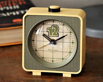 Large Soviet Alarm Clock - Mechanical Clock - Square Retro Soviet Clock - Retro Clock Jantar - Vintage Clock - Russian Clock - Table Clock