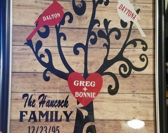 family tree wall art framed ***CUSTOMIZED***