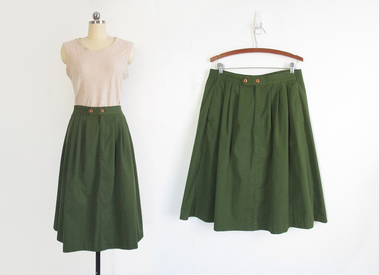 army green pleated knee length skirt with pockets / XL