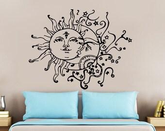 Wall Decal Sun Moon Crescent Dual Ethnic Stars Night Symbol Sunshine Vinyl Sticker Decals Art Home Decor Wall Mural Fashion Bedroom NS821