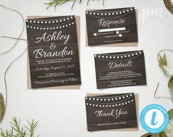 Rustic Wedding Invitation Printable Template, Hanging Lights, Rustic  Wedding Invite, Printable Invitation,